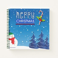 Merry Christmas Candy Cane and Snowman Notebook