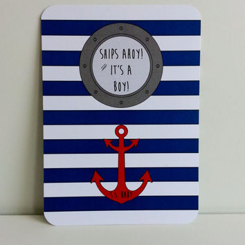 Nautical Baby Boy Shower Invitations Personalized Baby Shower Invite Ships Ahoy Naval Anchor Invites Sailor Theme Baby Party Maritime Shower