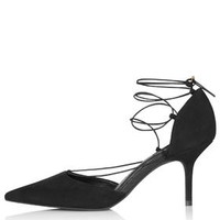 JESSICA Mid-Heel Ghillie Shoes - Black