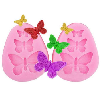 DIY Baking Tools Fondant Sugar Cake Bakeware Silicone Mold Three Butterfly Mould = 1705937924