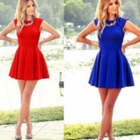 On Sale CUTE HOT BLUE and RED VEST DRESS