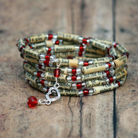 Judy's Bracelet - Heart Disease Awareness Bracelet - Vintage Bible Beads Memory Wire Faith Bracelet