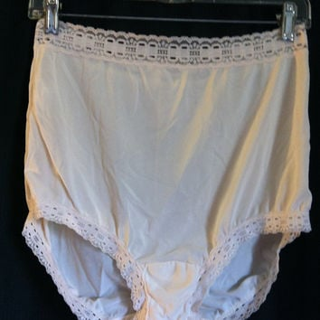 Vintage Olga High Waist Secret Hug Brief Panties Lacy Granny Panty L Large Cream Nylon 00873