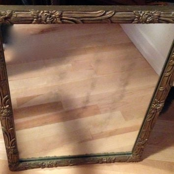 Rare Antique Gold Gilt Painted Wood Wall Mirror