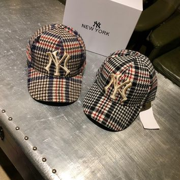 """Gucci x New York Yankees"" Unisex Classic Retro Multicolor Tartan Letter Embroidery Woolen Baseball Cap Couple Fashion Peaked Cap Sun Hat"