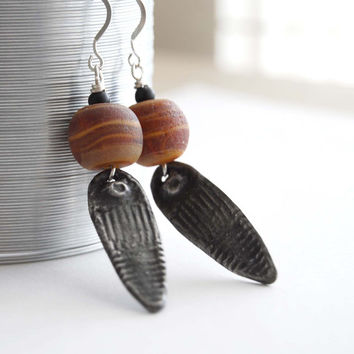 Ethnic Earrings, Lampwork Glass Earrings, Primative Earrings, Rustic Earrings, Metal Earrings, Brown Earrings