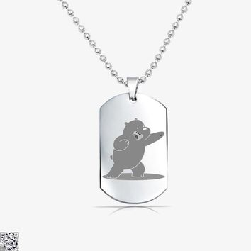 Grizzly Bear Fight, We Bare Bears Tag Necklace