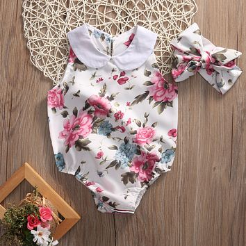 Summer Newborn Infant Baby Girl Floral Doll collar Romper Jumpsuit +Headband Outfits Sunsuit Clothes