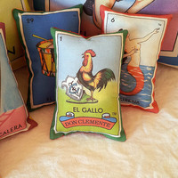 Gallo Rooster Mexican Loteria Mini Pillow, Tuck Pillow or Bowl Filler - Christmas / Dia De Los Muertos / Day of the Dead