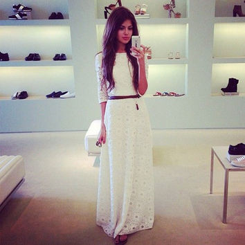 Feelingirl Fashion Casual Elegant Cute Dresses Half White Lace Floor Length Summer Long Maxi Party Dress = 1697113860