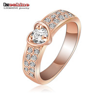 Romantic 18K Rose Gold Plated Heart Rings With Genuine SWA Element Austrian Crystal