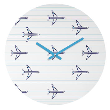 Vy La Airplanes And Stripes Round Clock