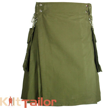 Olive Green Utility Kilt with Detachable Pockets Custom Made