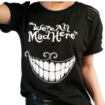 Black Kyliejenner Cat Print Female T-Shirt Alice in Wonderland We're All Mad Here Funny T-shirts For Girl Summer  Top
