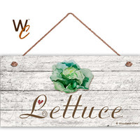 "Lettuce Sign, Garden Sign, Rustic Decor, Distressed Wood, Weatherproof, 5"" x 10"" Sign, Vegetable Sign, Gift For Gardener, Made To Order"