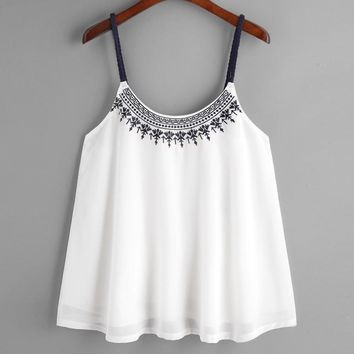 Womens Flower Embroidered Chiffon Strappy Cami crop top