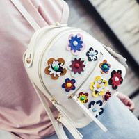 2016 Fashion High Quality Women Backpacks Small  PU Leather  Femme De Marque Flower School Bags Mini Womens Printing Backpack