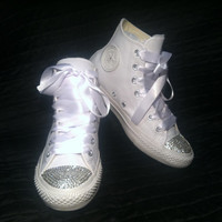Custom Converse Wedding Shoes - Chuck Taylor All Star White Leather High-tops w/ Swarovski's