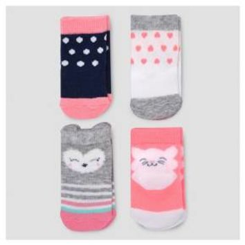 Baby Girls' 4pk Character Socks - Just One You™ Made by Carter's® Multicolor 0-3M