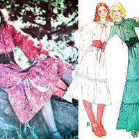 1970s Hippie Peasant Dress Sewing Pattern McCall's 5761 Size Small