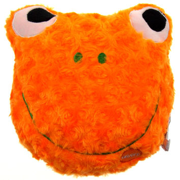 "Orange Frog Pillow Colored LED Light Up Flash Plush 9"" Microbeads Sofa Bed Decor"