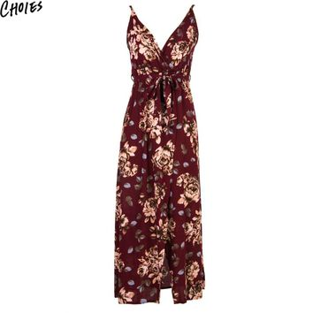 Women Multicolor V Neck Floral Print Wrap Front Cami Beach Maxi Dress Tie Waist Summer New Fashion Sexy Slim Casual Dresses