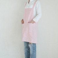 No-ties Linen Apron,Dusty pink