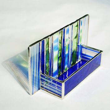 Stained Glass Business Card Holder Cobalt Blue by GaleazGlass