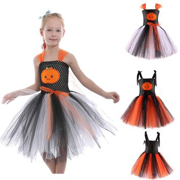 muqgew Toddler Kids Baby Girls Pumpkin Halloween Tutu Dress Party  Print Clothes  vestido infantil de princesa #4s