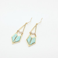 Fashion Gold Plated Geometric Dangle Earrings With Stone and Glass by Fashnin.com