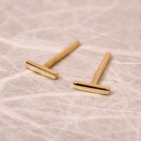 5mm 18k Gold Bar Studs Teeny Tiny 18k Yellow Gold Studs by SARANTOS