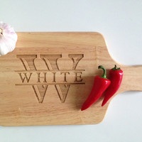 Laser Engraved Monogrammed Cutting Board - Gift for the Family Chef - Housewarming Gift - Bride and Groom Wedding Gift