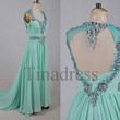 Custom Mint Crystals Long Prom Dresses Backless Sexy Evening Dresses Elegant Party Gowns Wedding Party Dresses Homecoming Dresses