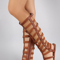 Elasticized Strappy Studded Open Toe Gladiator Flat Sandals
