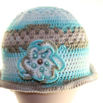 Turquoise beige white Baby Hat / Hand Crochet Hat / hat for girl / Crochet Hat with flower / Baby Hat OOAK / summer crocheted baby hat