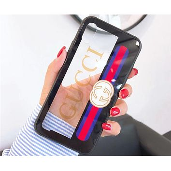GUCCI 2018 new creative hollow iphone8plus mirror glass cover F0758-1 Black