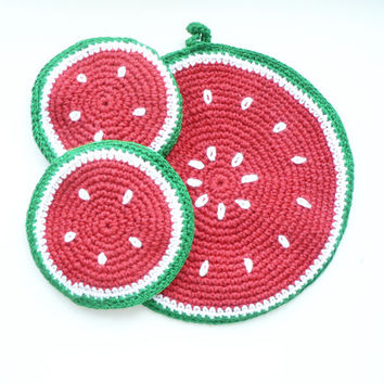 Set of 3 Crochet eco friendly trivets hot pad - Watermelon - red