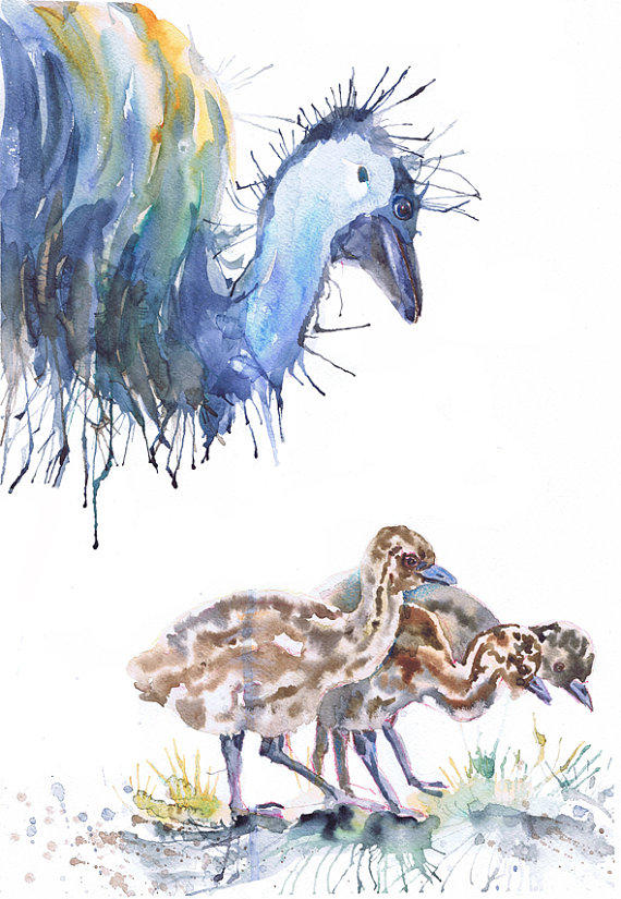 emu   watercolor print   ostrich   bird from valrart on etsy