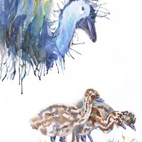 Emu , watercolor print , ostrich , Bird with chicks,  Archival Fine Art Print,  nursery decor, emu baby , childrens art, Illustration
