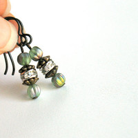 Iridescent Green & Rondelle Earrings by nancelpancel on etsy