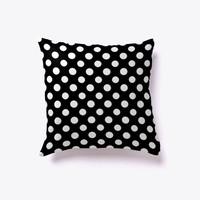Black and White Polka Dot Pattern Pillow