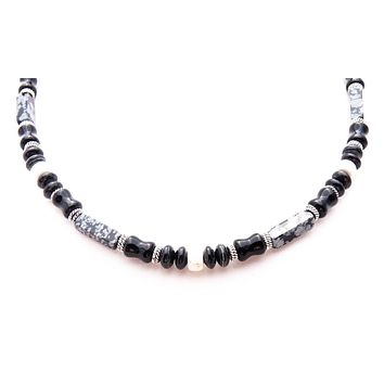 Mens Chakra Necklace Black Obsidian Crystal Healing Stones Energy Balancing Jewelry INTEGRITY MN02