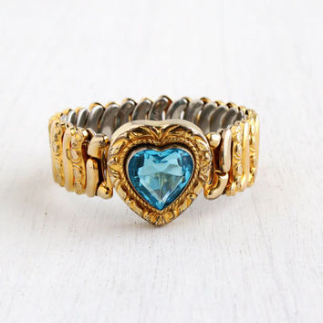 Vintage Blue Stone Heart Expansion Sweetheart Bracelet - WWII 1940s Yellow Gold Filled Bracelet Signed Co-Star Jewelry / Aqua Blue Love