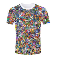 Fashion Hot Sale Pokemon T-shirts 3D T Shirts Men Hip Hop Casual Regular Collar Tshirts Plus Size S-4XL Men New Casual Tops
