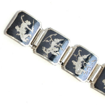 Vintage Sterling Silver Siam Panel Bracelet - Dark Gray Enamel Signed Goddess Thai Statement Jewelry / Siamese Goddesses