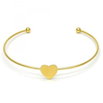 Stainless Steel 07.265.0016 Individual Bangle, Heart Design, Polished Finish, Golden Tone (01 MM Thickness, One size fits all)