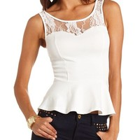 Lace Inset Hi-Low Peplum Tank: Charlotte Russe