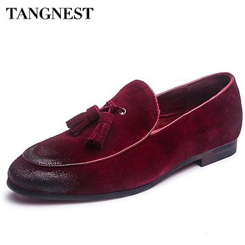 Tangnest Summer Newest Men Genuine Leather Shoes Fashion Tassel Men Wedges Shoes Solid Slip On Man Driving Shoe 4 Colors XMR2101