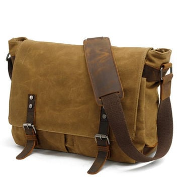 Men Wax oil Canvas Shoulder Bag Male Vintage Messenger Bags Casual Shoulder Bag Crossbody Bags Men's Handbags