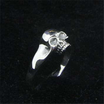Size 6-10 Free Shipping 925 Sterling Silver skull Ring Newest Lady Girls S925 Fashion Skull Ring